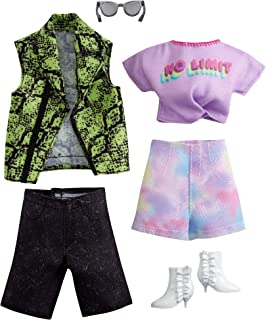 Barbie Fashion Pack with 1 Outfit 1 Accessory Doll, Tie Dye Shorts, 1 Each for Ken Doll, Snake Skin Shirt, Gift for 3 to 8...
