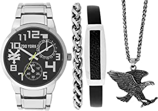 Silver Eagle Watch Gift Pack- Matching Silver Chain and Leather Bracelets - Silver Eagle Necklace