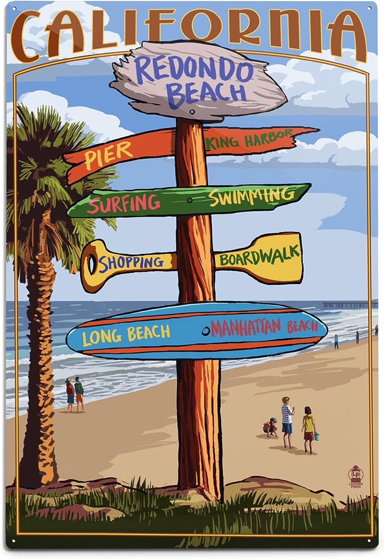 Lantern Press Redondo Beach Max 64% OFF Max 85% OFF California Destinations 12x1 Sign