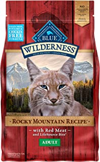Blue Buffalo Wilderness Rocky Mountain Recipe High Protein Grain Free, Natural Adult Dry Cat Food, Red Meat 4-lb