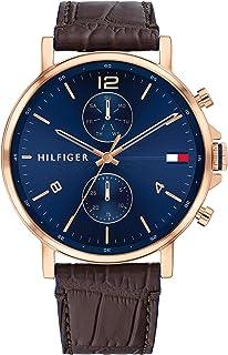 ساعة يد بمينا زرقاء وسوار جلدي بني للرجال من تومي هيلفجر- 1710418