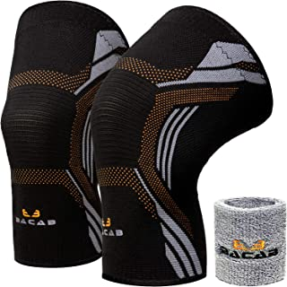BACAB Compression Knee Sleeves (Pair) | Knee Support Brace for Running, Crossfit, Powerlifting, Sports & Daily Activity | ACL, MCL, Arthritis Recovery Knee Brace for Men & Women | Prevent Injuries