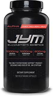 JYM Testosterone Booster - Ashwagandha, Fenugreek, Eurycoma, Damiana, and more | JYM Supplemental Science | 180 Vegetarian capsules | Alpha JYM