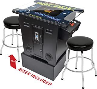 Creative Arcades Full-Size Commercial Grade Cocktail Arcade Machine | Trackball | 412 Classic Games | 2 Sanwa Joysticks | 2 Stools | Arcade Riser Included | 3 Year Warranty | Square Glass Top