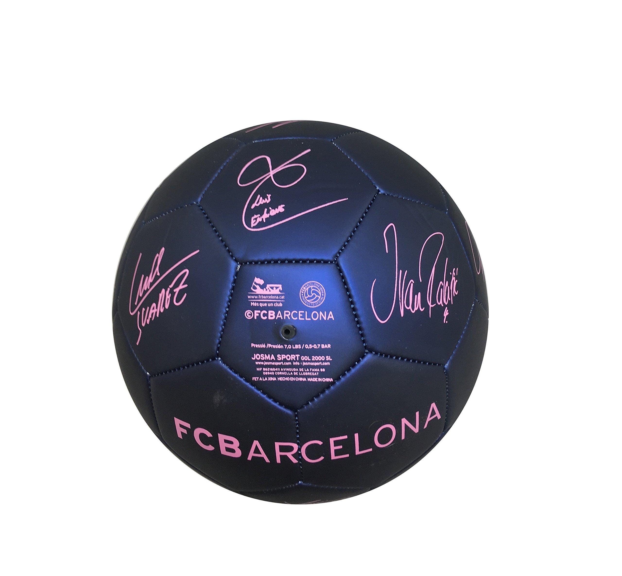 Balón Pelota de fútbol FCB Barcelona con Firmas Jugadores Azul ...
