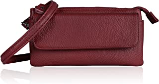 Befen Leather Wristlet Clutch Smartphone Crossbody Wallet with Card Slots/Shoulder Strap/Wrist Strap (Jester Red Small)