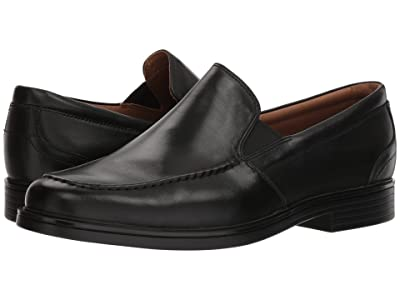 Clarks Un Aldric Slip (Black Leather) Men