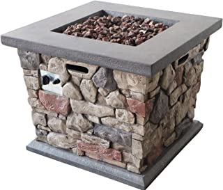 Christopher Knight Home Crawford Outdoor Stone Finished Square Fire Pit - 40,000 BTU