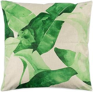styleBREAKER Funda de cojín Decorativo 40 x 40 cm con Estampado de Hojas Tropicales y Cremallera, cojín Decorativo, Almohada Decorativa 07010005, Color:Beige Verde