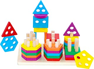 36 PCS Preschool Wooden Educational Toys, Shape Color Recognition Geometric Board Blocks for Sorting Stacking Non-Toxic To...