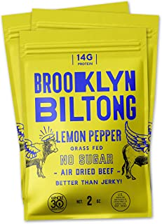Brooklyn Biltong - Air Dried Grass Fed Beef Snack, South African Beef Jerky - Whole30 Approved, Paleo, Keto, Gluten Free, Sugar Free, Made in USA - 2 oz. Bags, 3 Count (Lemon Pepper)