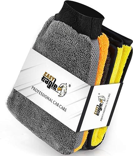 Gant de Lavage et Chiffon, EASY EAGLE Kit Nettoyage Voiture, en Microfibre