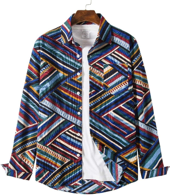 Zestion Men's Loose Plus Bargain service Size Printed Corduroy Shirt Style Retro