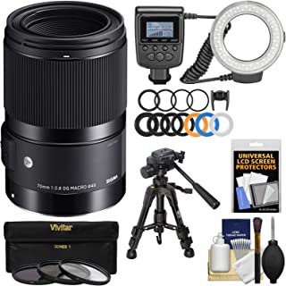 シグマ70mm f / 2.8アートDGマクロレンズとLEDリングライト&フラッシュ+三脚+フィルタキットfor Canon EOS DSLRカメラ