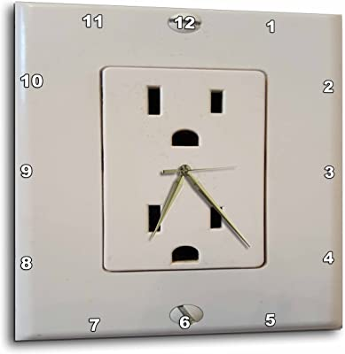 3dRose TDSwhite – Miscellaneous Photography - Funny Humor Electrical Outlet - 13x13 Wall Clock (dpp_285352_2