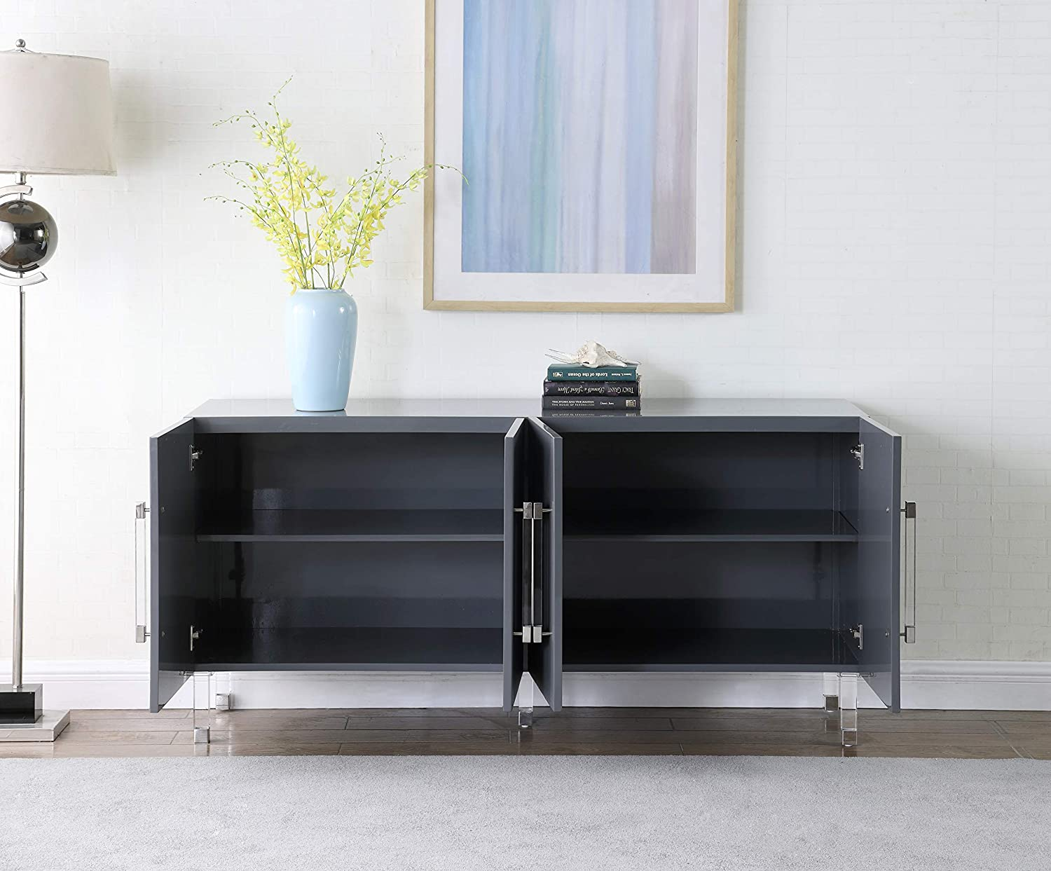 64 W x 18 D x 31 H Contemporary Sideboard//Buffet with Gold Tipped Acrylic Legs and Starburst Design Meridian Furniture Anastasia Collection Modern Grey Lacquer