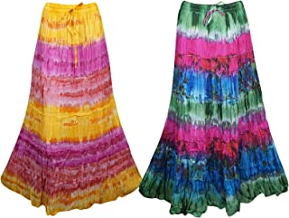 Mogul Interior Womens Maxi Skirt Tie Dye Boho Style Gypsy Flare Cotton Long Skirts S/M Pink,Blue