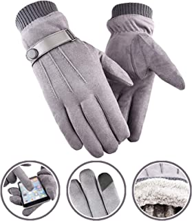 Touch Screen Cashmere Gloves Indoors Outdoors Cycling Driving Business Leisure Warm Winter Soft Gray Sports Full Fingers Gloves for Men