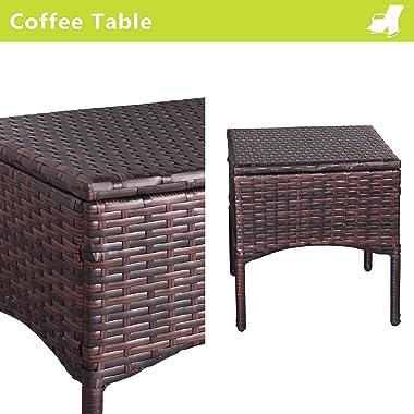 ENSTVER Set of 4 Indoor & Outdoor Reclining Chair-Porch Garden Lawn Deck Wicker Rocke Chair-Auto Adjustable Rattan Sofa w/Cus
