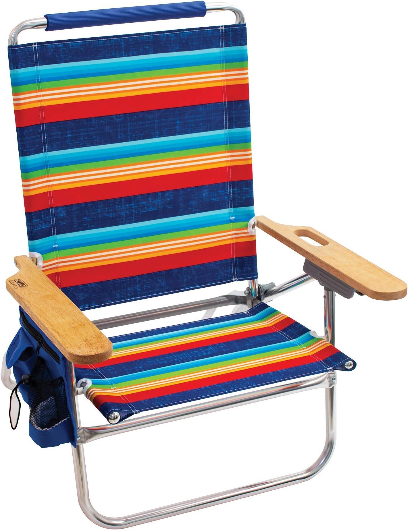 Amazon Com Rio Gear Beach Genuine Beach Bum 4 Position 12 Seat Height Folding Beach Chair Surf Power Blue Multi Stripe Sports Outdoors