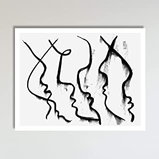 Faces, Print of Original Abstract Line Drawing Wall Decor Wall Art Print Poster Modern Contemporary Boho Home Decor 11x14 Inches, Unframed