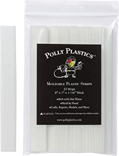 Polly Plastics Heat Moldable Plastic Strips - 25 Strips, 1 x 8 x 1/16