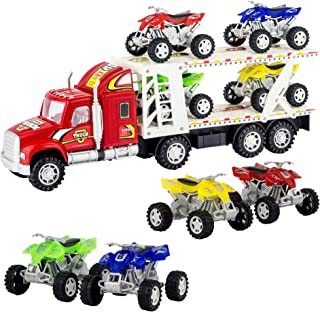 ATV Hauler Big Rig Toy Truck 1:48 Scale Auto Carrier Transporter (Assorted Colors)