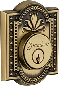 Grandeur Parthenon Double Cylinder Deadbolt, Vintage Brass