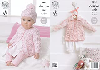 King Cole Double Knitting Pattern Baby Round Neck Coat Collared Cardigan & Hat Smarty DK (4315)