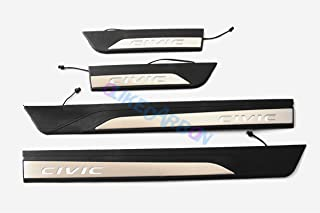 OLIKE For Honda Civic 2016-2017 10TH NEW Sedan Hatchback Fashion Style Car Led Door Sill Scuff Plate Guard Sills Protector Trim