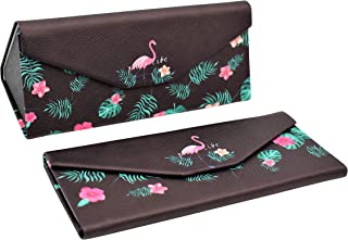 REAL SIC Adorable Animal Glasses Case - Magnetic Folding Leather Feel Hard Case for All Glasses
