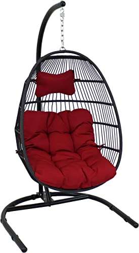 2021 Sunnydaze Julia Hanging Egg Chair with Stand and Red Cushions - Comfy Outdoor Collapsible Outdoor Hanging Chair with Stand - Black Polyethylene outlet sale Wicker Rattan Frame popular with Steel Stand - 76 Inches Tall online sale