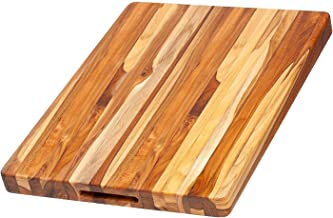 Teakhaus Teak Wood Cutting Board - More Durable than Bamboo -Rectangle Sustainable Wooden Carving Board with Hand Grip Large (20 x 15 x 1.5 Inch)