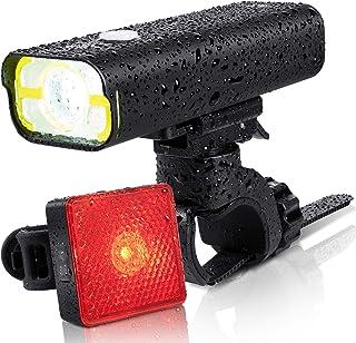 BrightRoad - Luz delantera y trasera para bicicleta (recargable, 800 lúmenes, USB, IPX6, resistente al agua, para ciclismo)