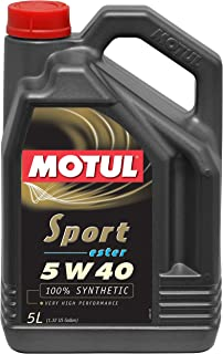 Motul 5 L 105700 Sport 5W40 Synthetic Engine Oil 5-Liter, 169.05 Fluid_Ounces
