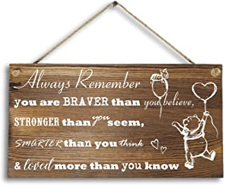 """Agantree Art 6""""x 12"""" Winnie The Pooh Wood Plank Design Hanging Sign Plaque, Inspirational Gift for Kids or Fiendss."""