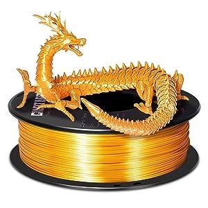 PLA Filament 1.75mm, Silk cuivre, or, argent, vert, blanc, noir, etc.