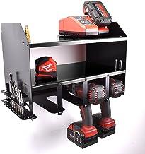 Estante organizador de almacenamiento para herramientas eléctricas y taladros inalámbricos. Taller de garaje