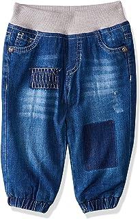 Giggles Side Pocket Contrast Elastic Waist Washed Denim Pants for Girls