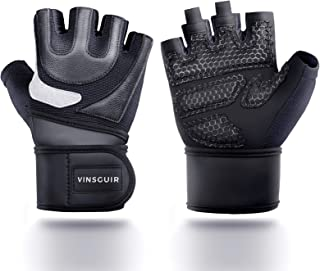 Vinsguir Workout Gloves Men & Women, Durable Leather Gym Gloves, Weight Lifting Gloves with Built-in Adjustable Wrist Wrap...