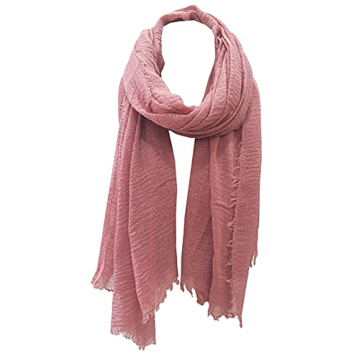 d5747d429 World of Shawls Chic Ladies Cotton Blend Crinkle Distressed Effect Scarf  with Fringed Edges
