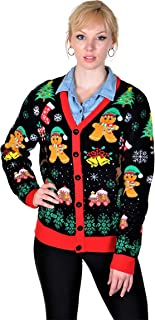 Women's Ugly Christmas Sweaters Cardigan Gingerbread Black