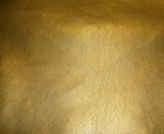 "luvfabrics Vinyl Faux Leather Gold Metallic Ford Upholstery Car Sofa Faux Leather Vinyl Fabric Per Yard 54"" Wide ships rolled"