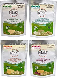 INTAKT 100% Natural Cheese Bites   4 Pack   Keto, Low Carb, Gluten Free, High Protein, High Fat, Non GMO, Healthy Snacks   Dehydrated Cheese Crisps (Original, Spicy, Oregano, Blue Cheese)