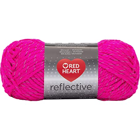 Coats Yarn Red Heart Reflective Yarn-Neon Pink, Other, Multicoloured