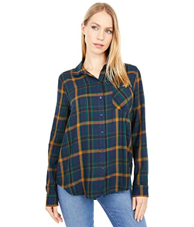 Lucky Brand Classic Flannel Shirt (Navy/Green) Women