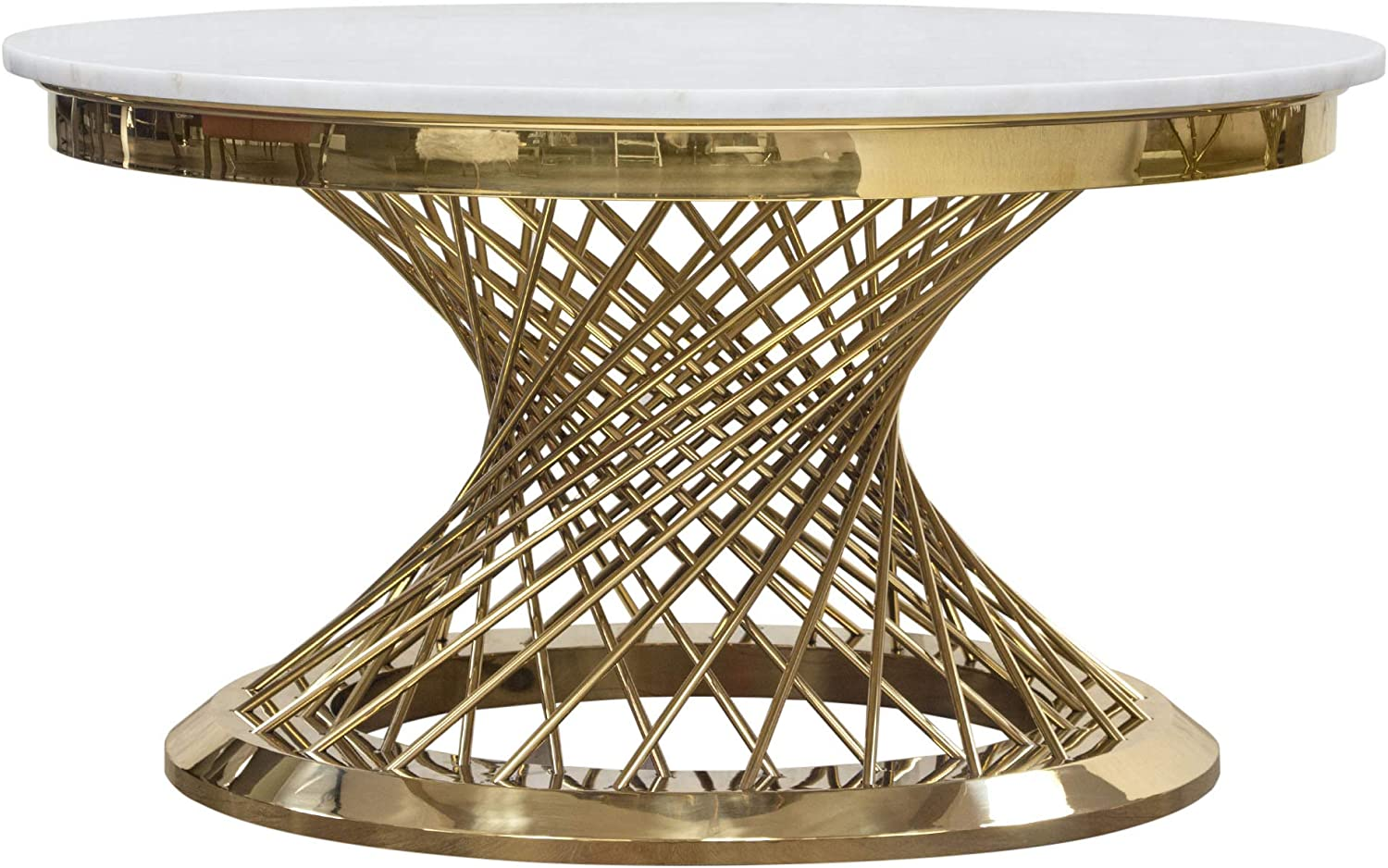 Diamond Sofa Round Charlotte Mall Cocktail Finally popular brand Gold Table in