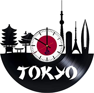 Tokyo Japan Vinyl Record Wall Clock - Get unique room wall art décor - Gift ideas for children and parents – Unique city art design - Leave us a feedback and win your custom clock
