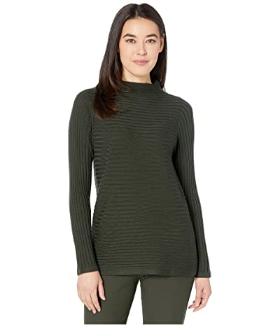 Eileen Fisher Petite Merino Funnel Neck Top (Woodland) Women