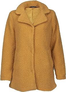 女士 Mustard 黄色毛绒人造毛皮羊毛外套夹克